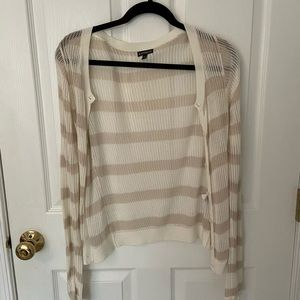 Express Brown and Ivory Striped Cardigan